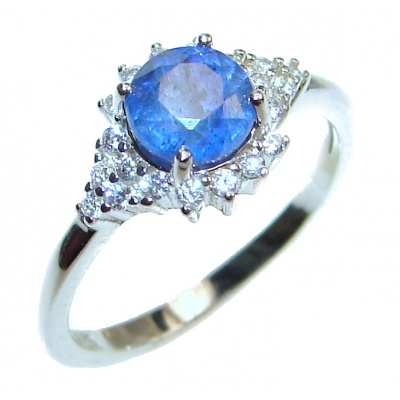 Dazzling natural Sapphire .925 Sterling Silver handcrafted ring size 5 3/4