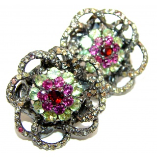 Fabulous multicolor Garnet Peridot Rhodium over .925 Sterling Silver handcrafted stud earrings