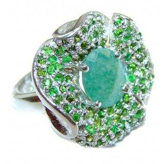 Natural Emerald .925 Sterling Silver handmade ring s. 8