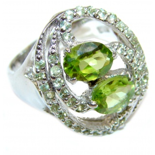 Fantastic Peridot .925 Sterling Silver handmade Ring size 9