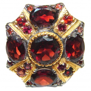 Large Genuine Garnet black rhodium .925 Sterling Silver handcrafted Statement Ring size 7 1/4