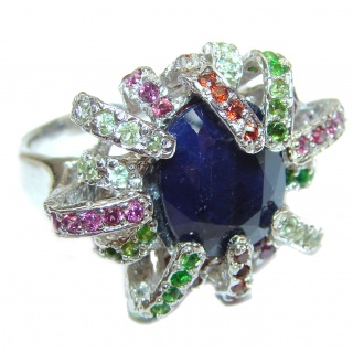 Large Genuine Sapphire .925 Sterling Silver handcrafted Statement Ring size 8 1/4