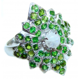 Angelica Rainbow Moonstone Chrome Diopside .925 Sterling Silver handmade Ring size 9