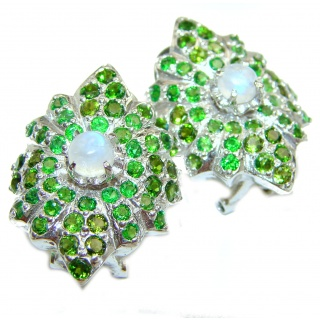 Fabulous Rainbow Moonstone & Chrome Diopside .925 Sterling Silver handcrafted stud earrings