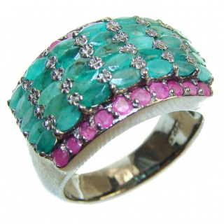 Posh Genuine Emerald Ruby .925 Sterling Silver handcrafted Statement Ring size 9