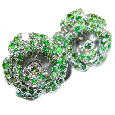 Fabulous Chrome Diopside .925 Sterling Silver handcrafted stud earrings