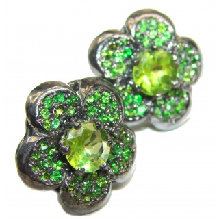 Fabulous Peridot Chrome Diopside Rhodium over .925 Sterling Silver handcrafted stud earrings