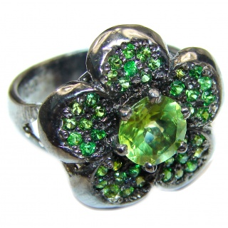 Spectacular Genuine Peridot Chrome Diopside .925 Sterling Silver handcrafted ring size 7 1/4