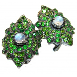 Fabulous Rainbow Moonstone & Chrome Diopside black rhodium over .925 Sterling Silver handcrafted stud earrings