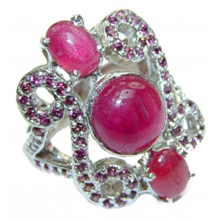 Large Genuine Kashmir Ruby .925 Sterling Silver handcrafted Statement Ring size 8 1/4