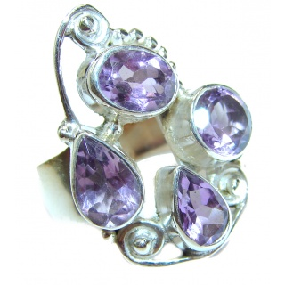 Spring Blooming Natural Amethyst .925 Sterling Silver handcrafted ring size 7 3/4