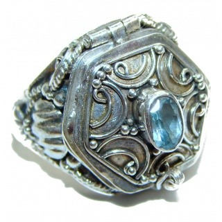 Energizing Swiss Blue Topaz Sterling Silver handmade Poison Ring size 6
