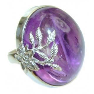 Huge Purple African Amethyst .925 Sterling Silver Ring size 8 adjustable