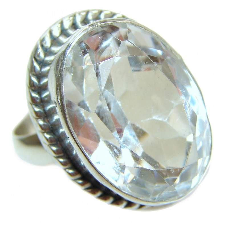 Fancy White Topaz .925 Sterling Silver handmade Ring s. 7 3/4