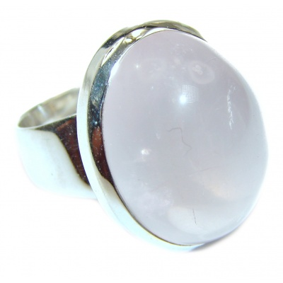 Authentic Rose Quartz .925 Sterling Silver handcrafted ring s. 8