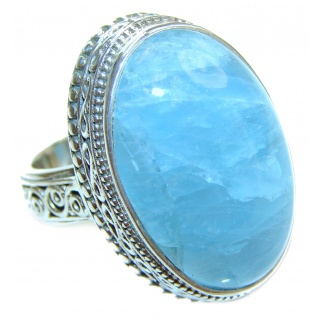 Treasure GENUINE Blue Aquamarine .925 Sterling Silver handmade ring s. 8
