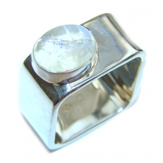 Fire Moonstone .925 Sterling Silver handmade Ring size 7 1/2