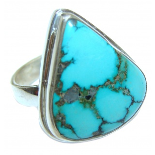 Large genuine American Turquoise .925 Sterling Silver ring; s. 7
