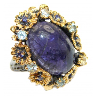 Chunky Authentic African Tanzanite 14K Gold over .925 Sterling Silver handmade Ring s. 6 3/4