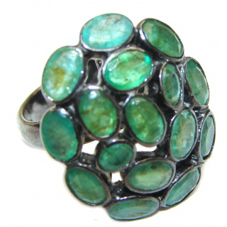 Posh Genuine Emerald blck rhodium over .925 Sterling Silver handcrafted Statement Ring size 8
