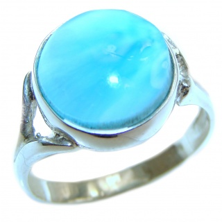 Vintage Design Natural Larimar .925 Sterling Silver handcrafted Ring s. 7 1/2