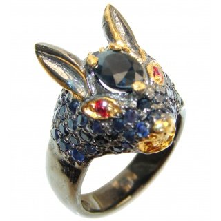 Chunky Rabbit Authentic Sapphire 14K Gold over .925 Sterling Silver handmade Ring s. 9