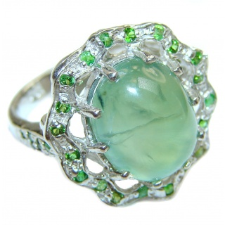 Natural Moss Prehnite .925 Sterling Silver handmade ring s. 8 1/2