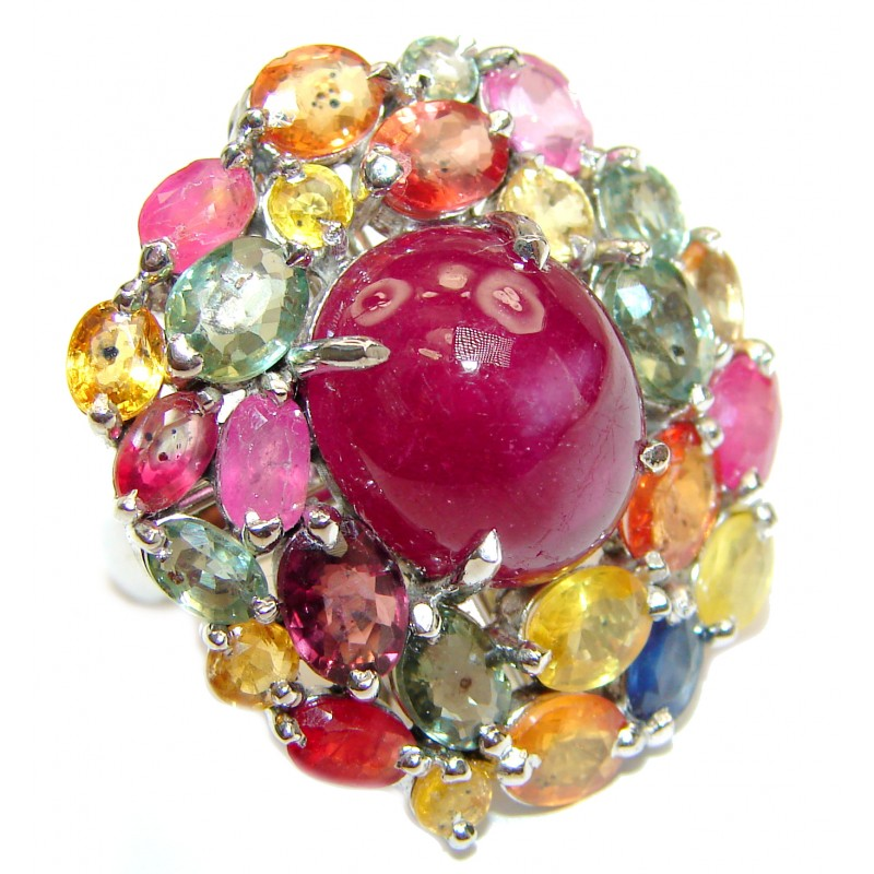 Gabriella Large Genuine Ruby multicolor Sapphire .925 Sterling Silver handcrafted Statement Ring size 6 1/2