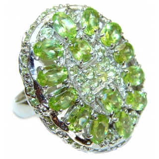 Aurora Spectacular Natural Peridot .925 Sterling Silver handcrafted ring size 10