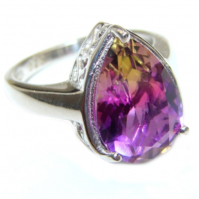 Genuine 25ct Ametrine .925 Sterling Silver handcrafted ring; s. 7