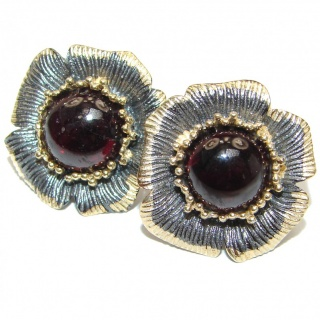 Floral Design Huge Authentic 32ct Garnet 14K Gold over .925 Sterling Silver handmade earrings