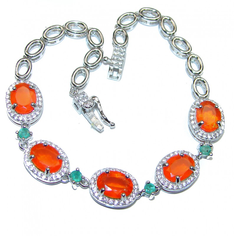 Natural precious Orange Mexican Opal .925 Sterling Silver handcrafted Bracelet