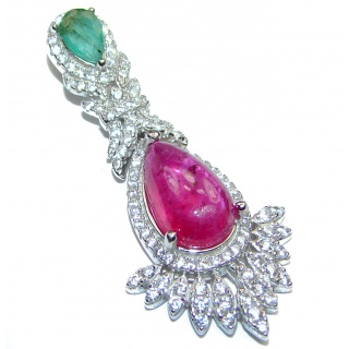 Authentic Kashmir Ruby Emerald .925 Sterling Silver Pendant