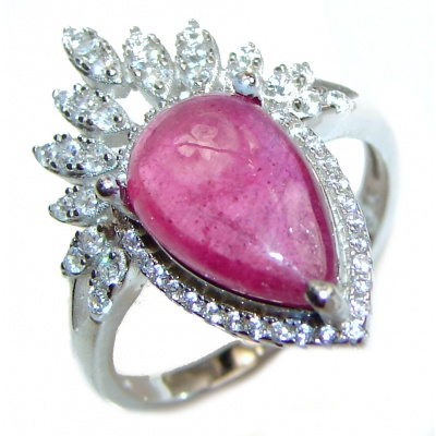 Genuine Kashmir Ruby .925 Sterling Silver handcrafted Statement Ring size 7