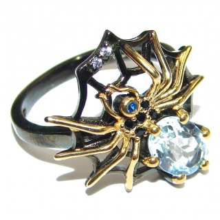 Spider's Web Genuine Swiss Blue Topaz .925 Sterling Silver handcrafted Statement Ring size 7