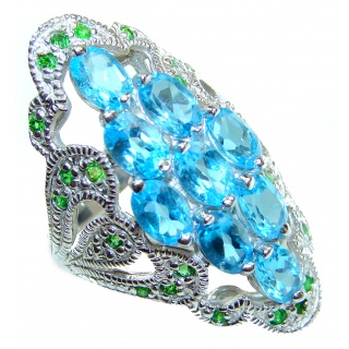 Melissa Genuine Swiss Blue Topaz .925 Sterling Silver handcrafted Statement Ring size 7 1/4