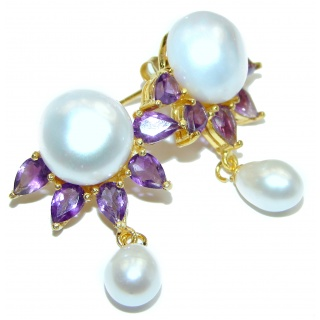 Venus Pearl Amethyst .925 Sterling Silver handmade Earrings