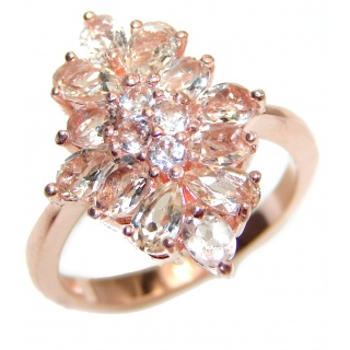 Morganite 14K Rose Gold over .925 Sterling Silver handcrafted ring s. 7
