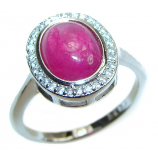 Amazing Color Ruby .925 Sterling Silver handcrafted Statement Ring size 6