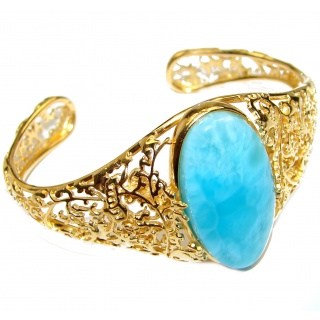 Incredible Genuine Blue Larimar 14K Gold over .925 Sterling Silver handmade Bracelet Cuff