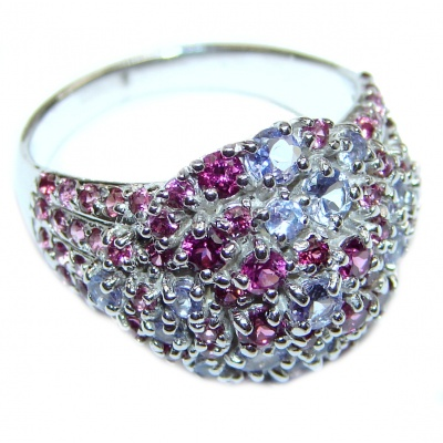 Sublime Garnet Tanzanite .925 Sterling Silver handmade Ring size 8