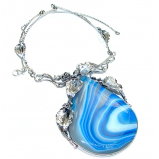 Oversized MasterPiece genuine Botswana Agate .925 Sterling Silver handcrafted necklace