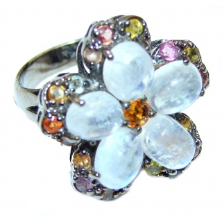 Angelica Rainbow Moonstone Ruby Black rhodium over .925 Sterling Silver handmade Ring size 8 3/4