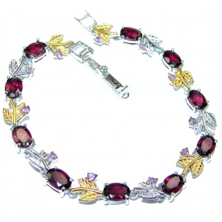Authentic Garnet two tones .925 Sterling Silver handcrafted Bracelet