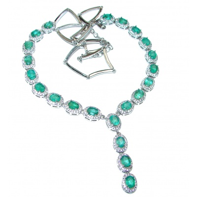 Alessandra Large authentic Emerald .925 Sterling Silver handcrafted Statement necklace