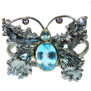 Enchanted Beauty Butterfly Swiss Blue Topaz 24K Gold over .925 Sterling Silver antique patina Bracelet / Cuff