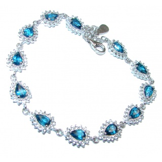 Natural precious London Blue Topaz .925 Sterling Silver handcrafted Bracelet