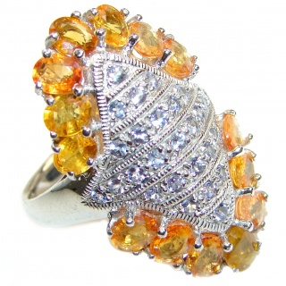 Large Genuine yellow Sapphire Tanzanite .925 Sterling Silver handcrafted Statement Ring size 9