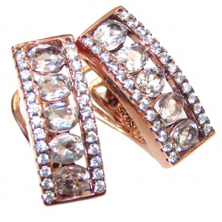 Oval Cut Morganite 14K Rose Gold over .925 Sterling Silver handcrafted earrings
