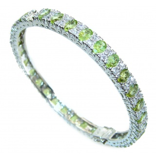 Glorious Natural Peridot White Topaz 925 Sterling Silver Bangle bracelet